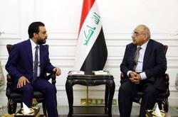 عبد المهدي والحلبوسي ينسقان الجهود بشأن خطبة السيستاني ومطالب المتظاهرين