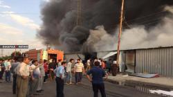 صور.. حريق في سوق باربيل