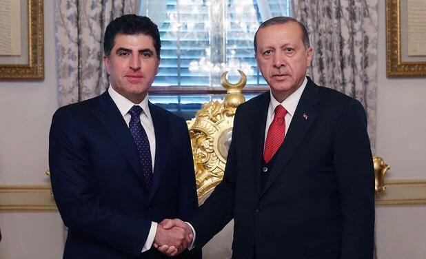 The Turkish president hosted Kurdistan's president earlier today