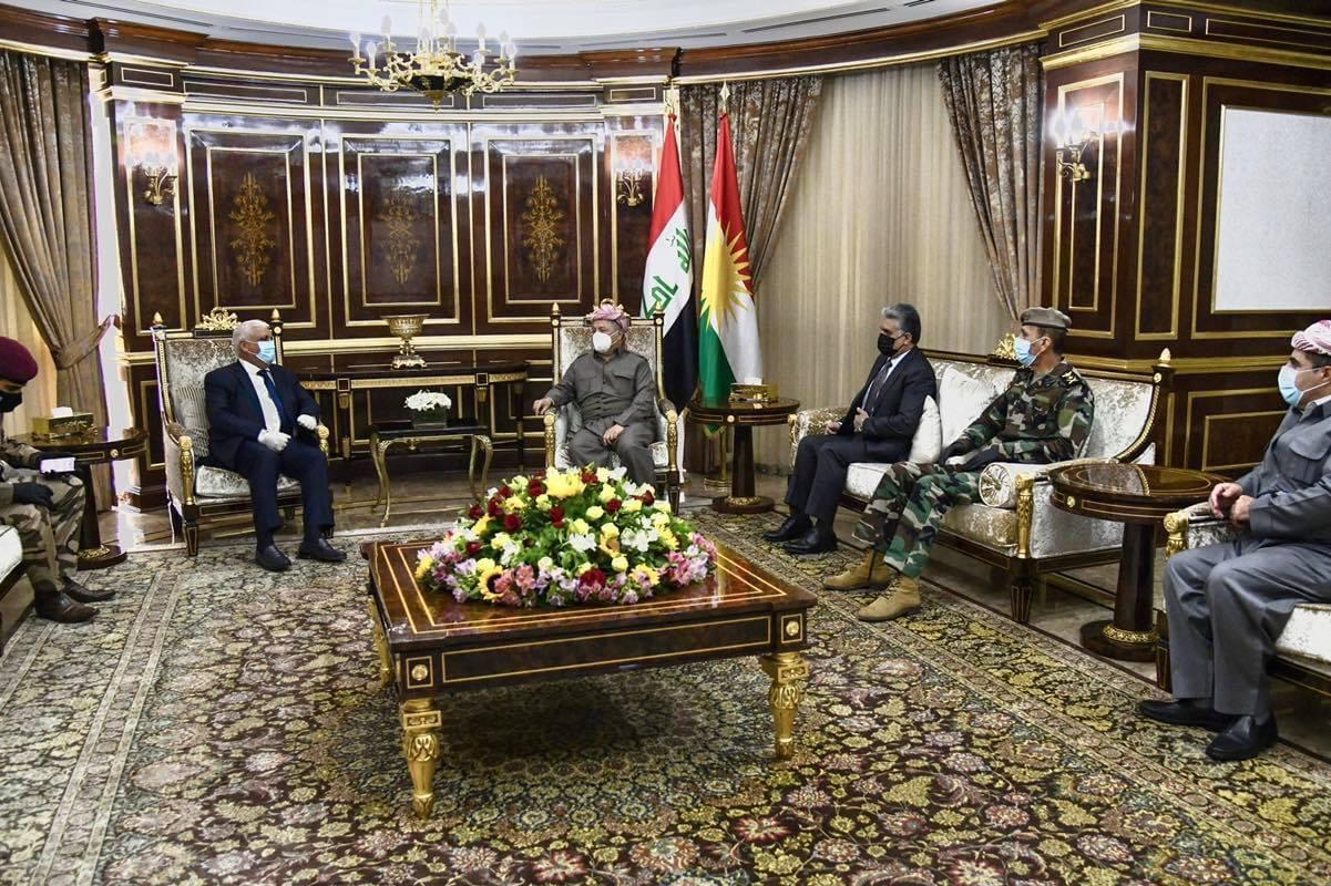 Masoud Barzani hosts the head of the Authority of Al-Hash Al-Shaabi