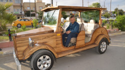 A car made in Kirkuk comparable to the Mercedes made of Al-Sulaymaniyah's wood