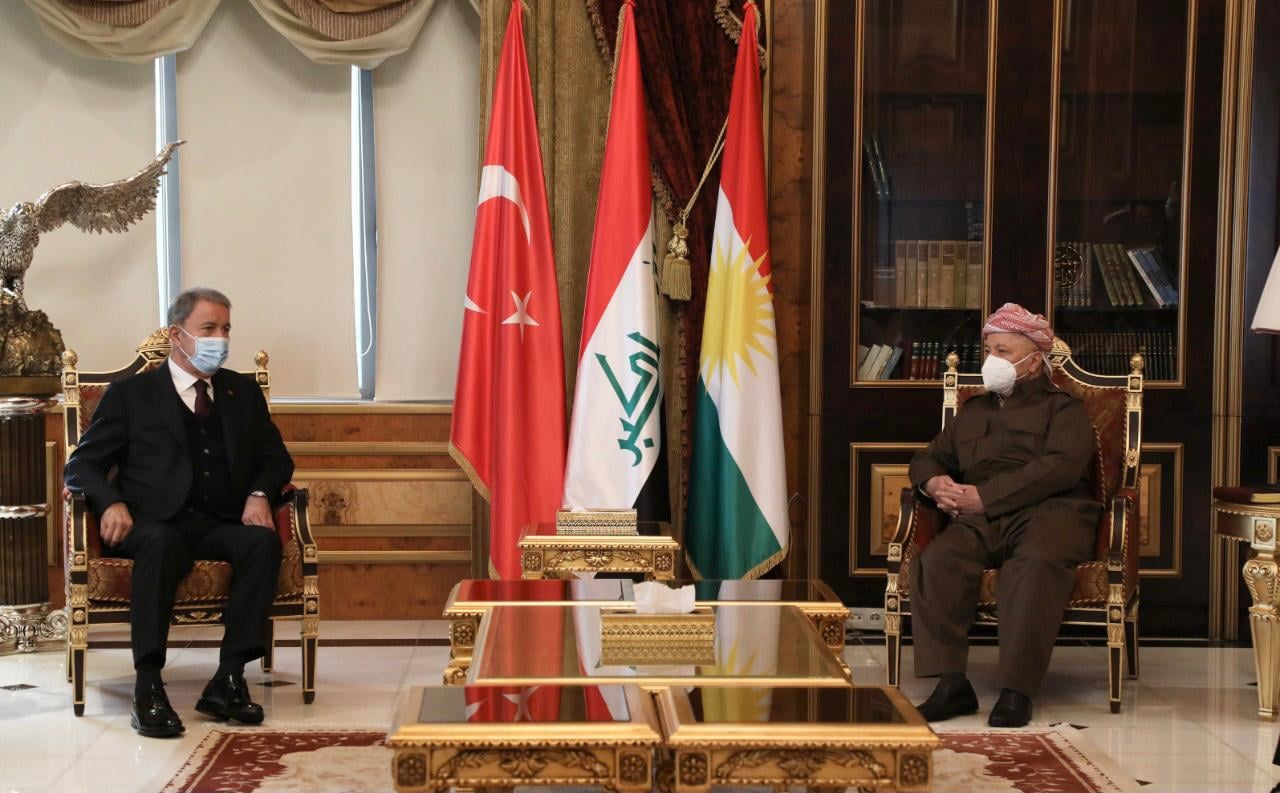 Turkish Minister of Defense visits Masoud Barzani in his headquarters in Saladin