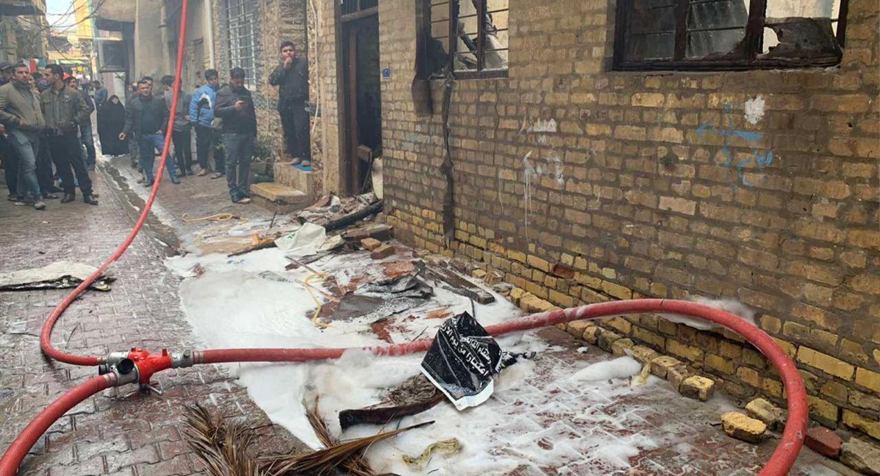 صور.. مصرع امرأة مسنة بحريق في منزلها شمالي بغداد