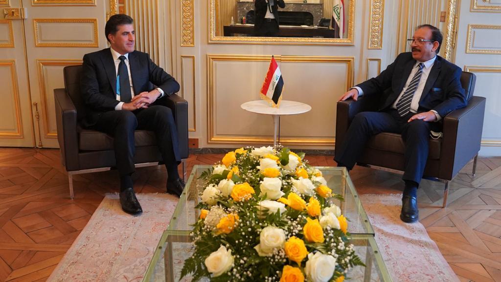 Nechirvan Barzani visits the Iraqi Embassy in Paris