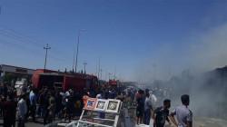Fires break out in a car shop in Baghdad