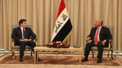 President Salih receives President Barzani at the Salam Palace