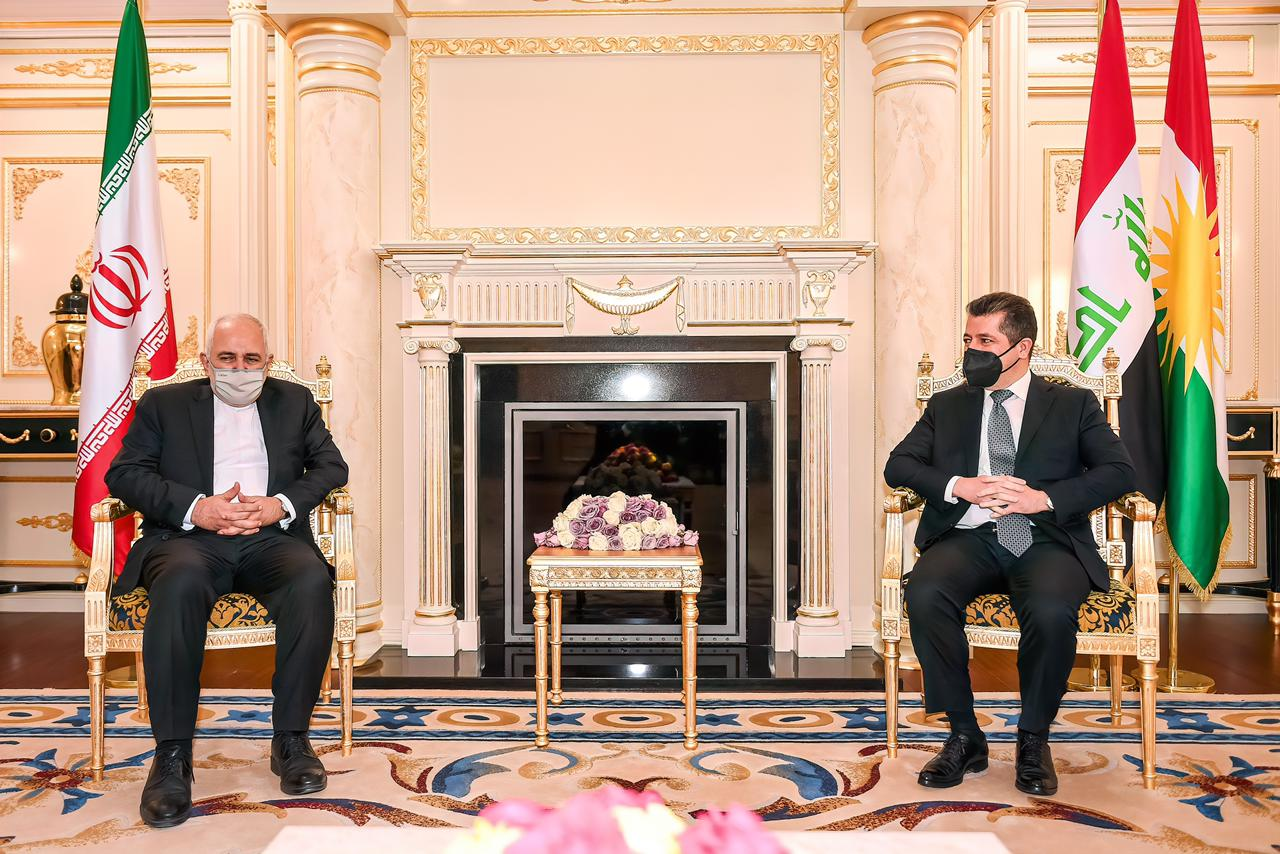 The Prime Minister of Kurdistan discusses with Zarif to develop economic relations and trade exchange 1619543522118