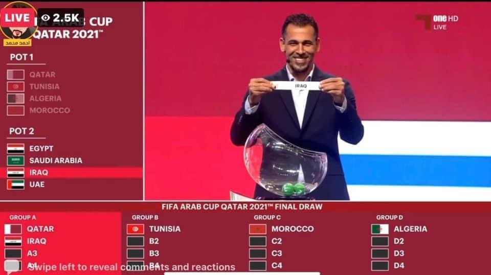 قرعة كأس العرب.. مواجهات قوية والعراق في المجموعة الأولى