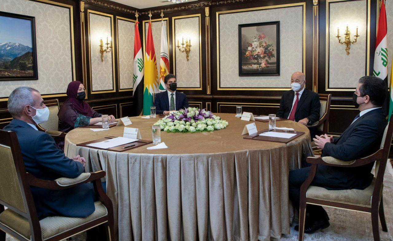 Kurdistan Region leaders meet with Barham Salih in Permam 1619687754103