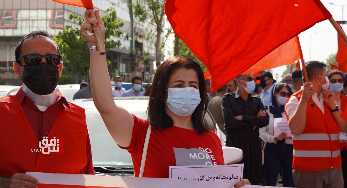 في عيدهم العالمي.. عمال السليمانية يتظاهرون للمطالبة بتأمين حقوقهم