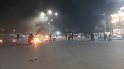 Angry protesters block Imam Ali Street in Dhi Qar Governorate