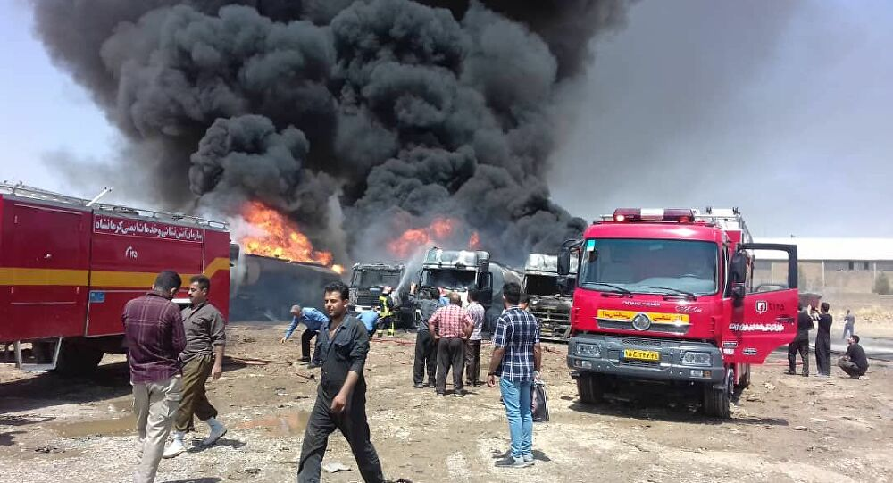 A huge fire erupted in the Iranian port city of Bushehr, no casualties reported