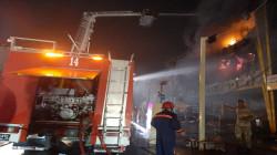 Civil Defense teams put great efforts to extinguish a massive fire in Baghdad