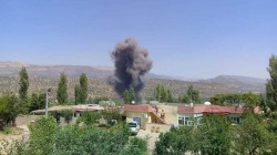 Blazes caused by Turkish bombardment engulfed houses in northern Duhok