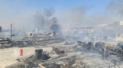 حريق هائل يأتي على قرابة 100 خيمة للنازحين في دهوك