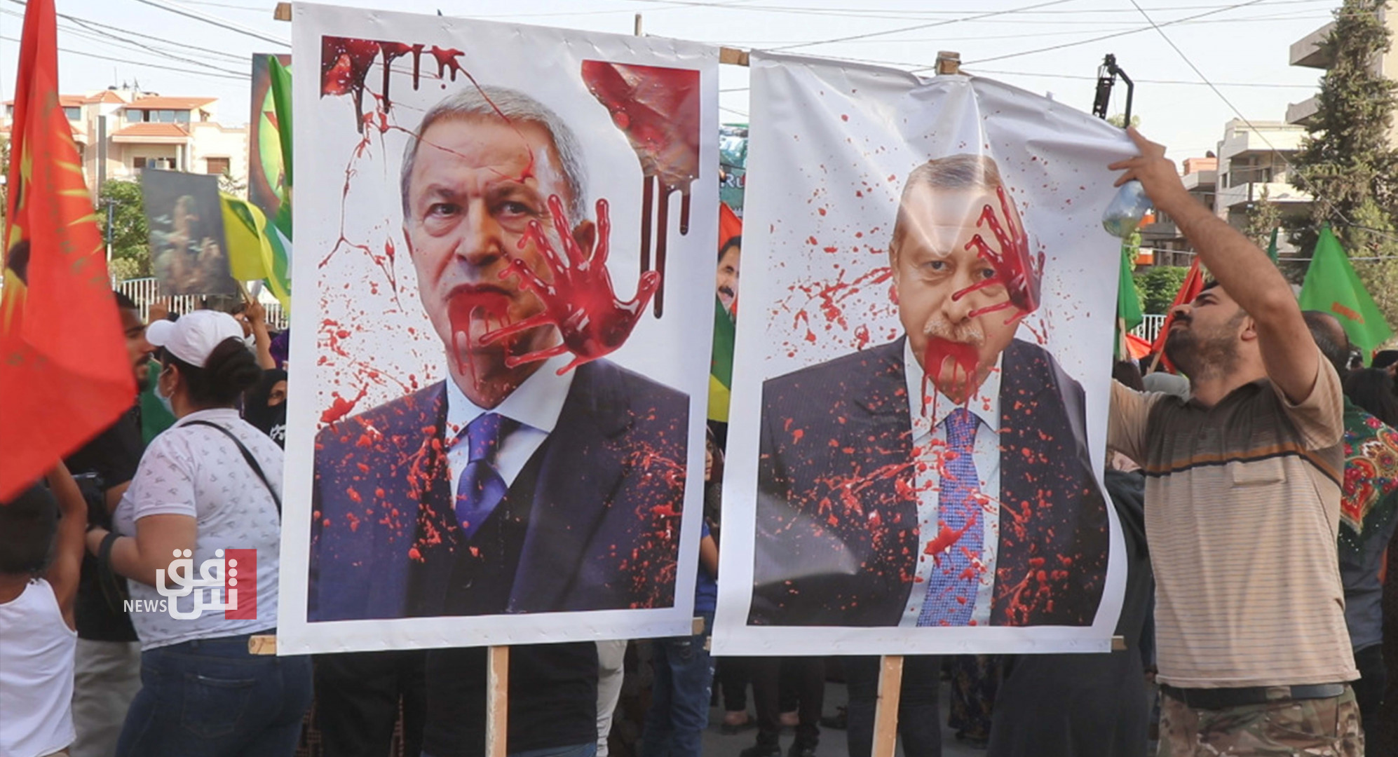 Thousands participated in a March in Qamishli, condemning the Turkish attacks