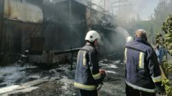 Blazes engulfed an industrial facility in Erbil