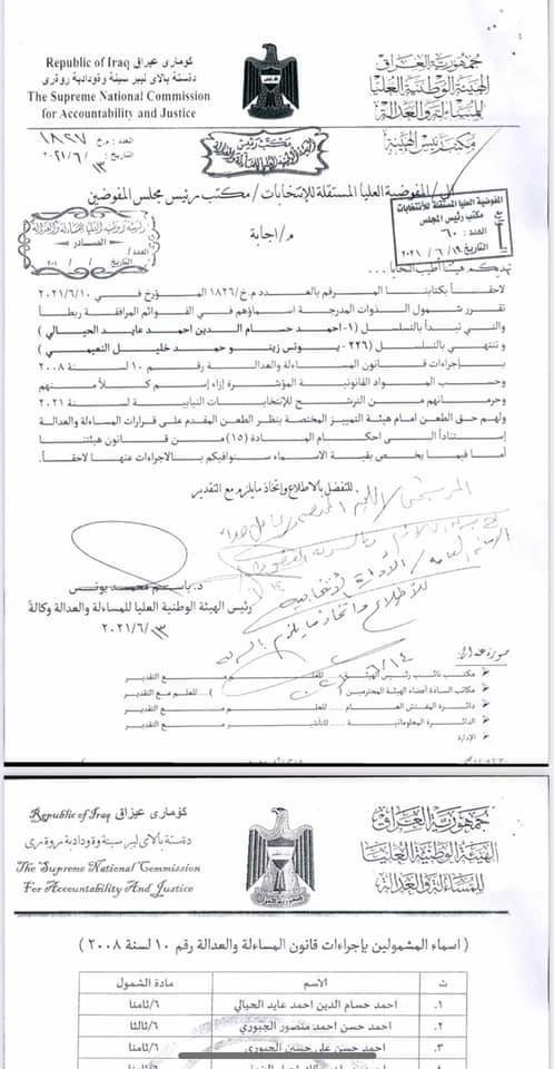 """وثائق.. شمول 226 مرشحاً للانتخابات بـ""""الاجتثاث"""" بينهم ابن وزير دفاع صدام"""