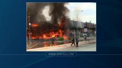 حريق هائل يلتهم معرضاً للأثاث وسط أربيل