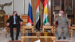 Kurdish leader Masoud Barzani meets the Russian ambassador to Iraq