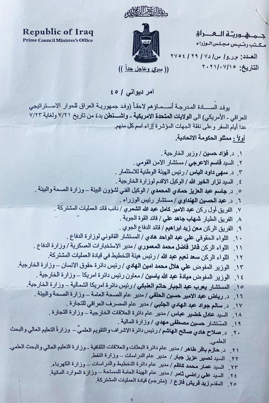 Document..disclosure of the names of the Iraqi delegation to the strategic dialogue with America