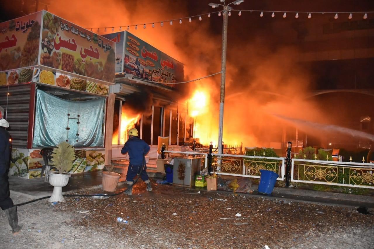 اندلاع حريق كبير في محال تجارية جنوب بغداد.. صور