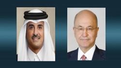 الرئيس العراقي وأمير قطر يبحثان إرساء الاستقرار في المنطقة