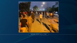 Protesters against the results of the election move towards the Green Zone