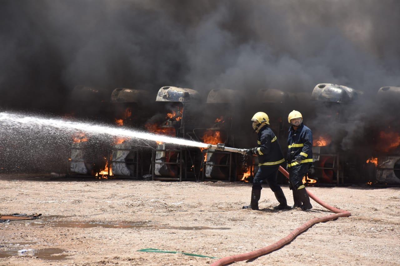 اخماد حريق في بغداد بست فرق اطفاء