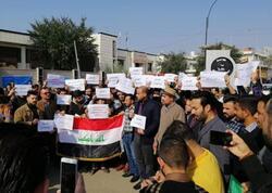 """موظفون """"دون غطاء مالي"""" يتظاهرون لصرف رواتبهم في صلاح الدين"""