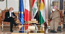 مسعود بارزاني يناقش مع لودريان الوضع الحالي في العراق