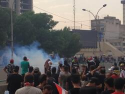 A demonstration starts in front of the Central Department of the Popular Mobilization in Baghdad