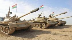 Peshmerga supported by the international coalition is fighting ISIS near Erbil