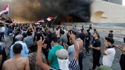 صور.. احتجاج بساحة عباس بن فرناس المؤدية لمطار بغداد
