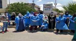 صور .. عشرات الكوادر الصحية تحتج على تخصيص مستشفى كركوك العام لكورونا